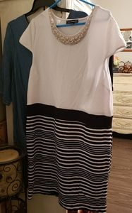 New LUCY DIAMONDS dress 2XL black,white and pearls